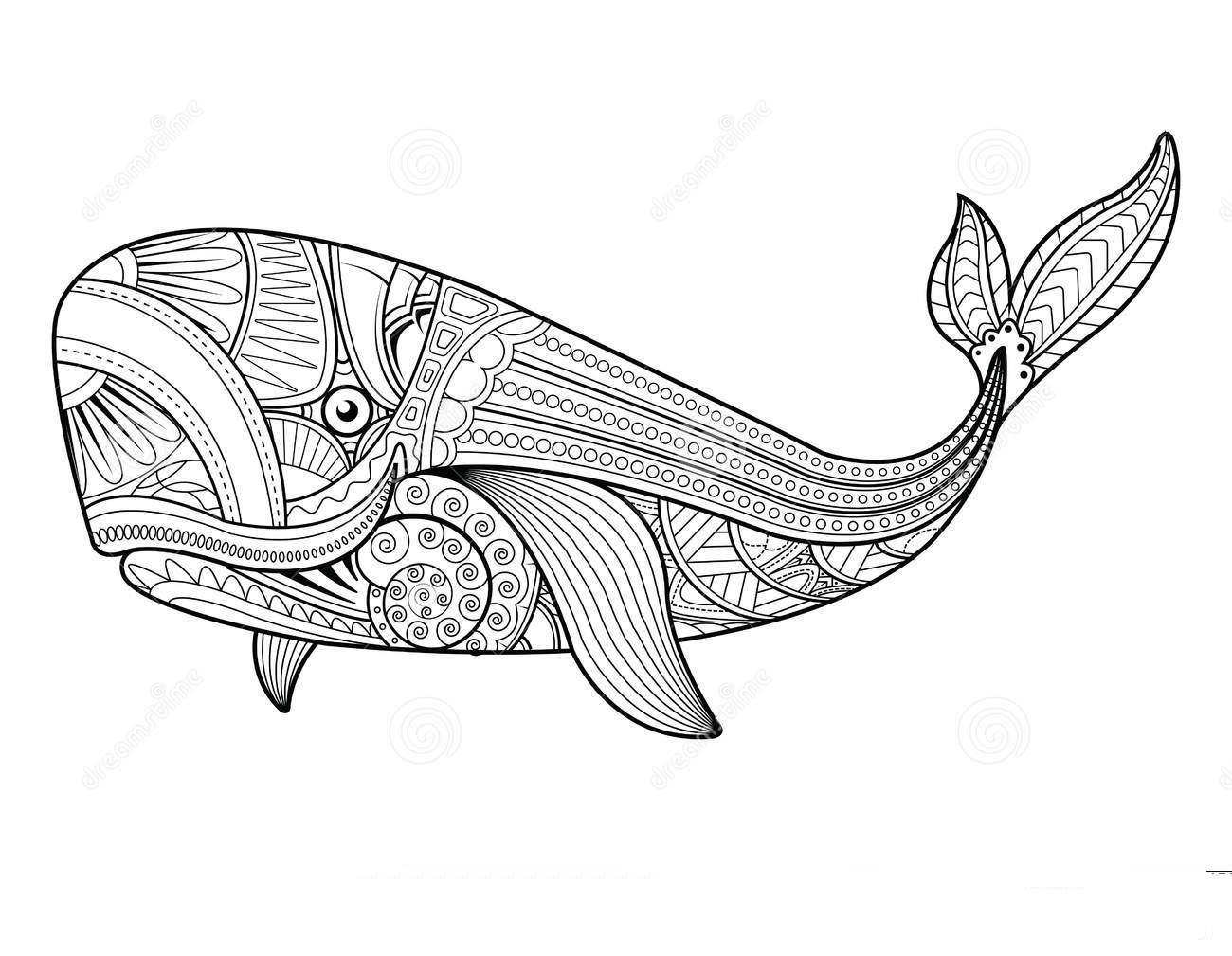 Mandala Whale Coloring Page