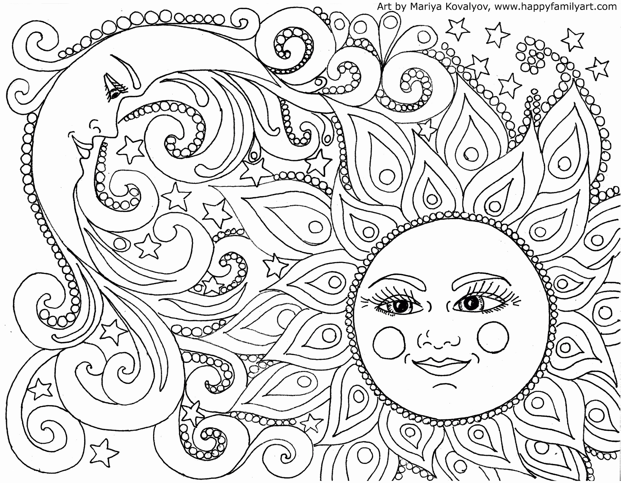 Mandala Sun And Moon Coloring Page