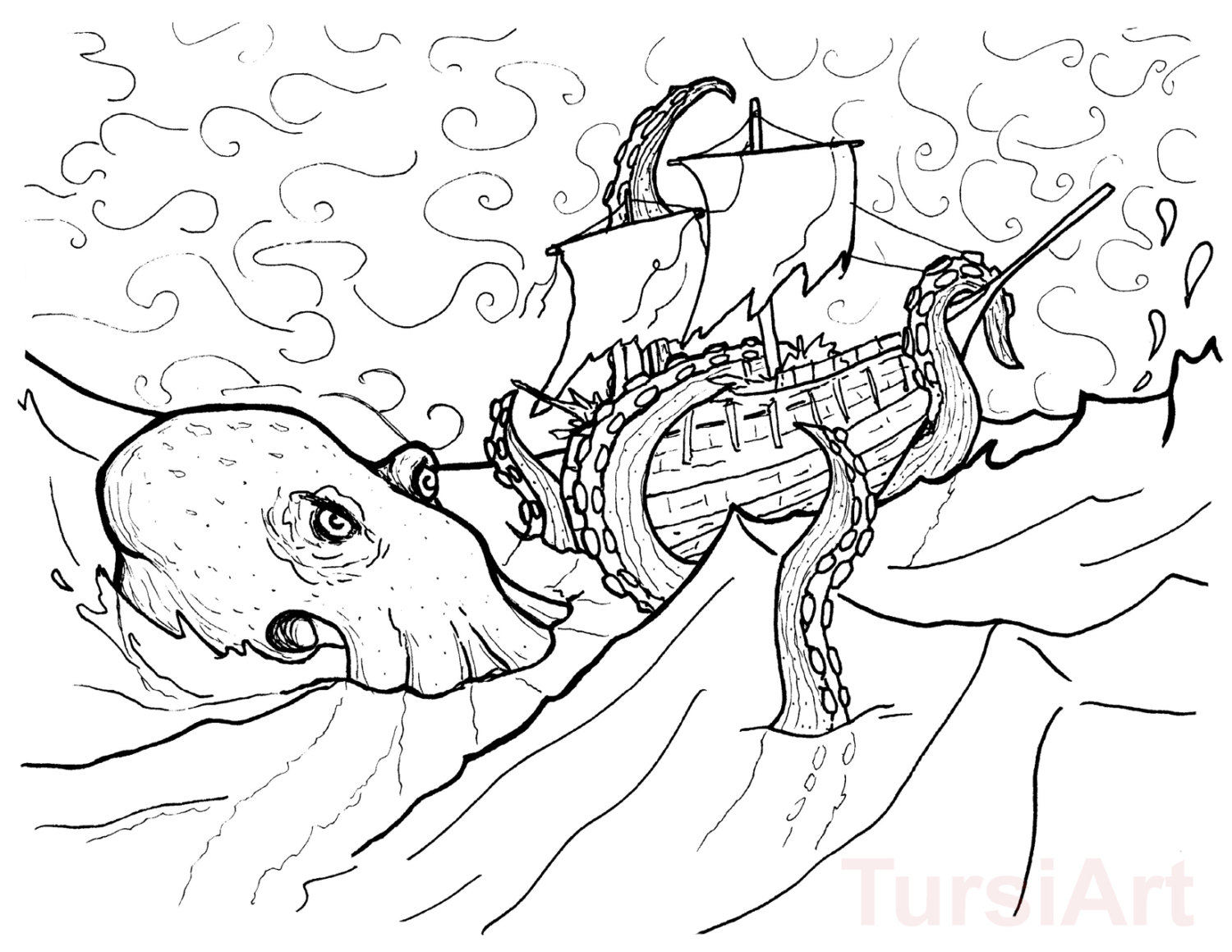 Kraken Atttacking The Ship Coloring Page