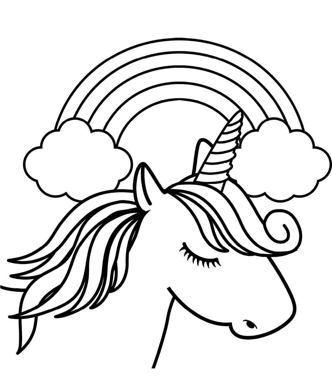 Unicorn Head In Front Of Rainbow Coloring Page