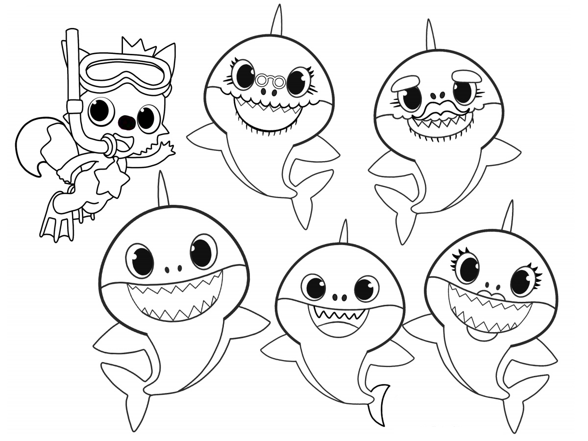 Pinkfong And Baby Shark Family Coloring Page