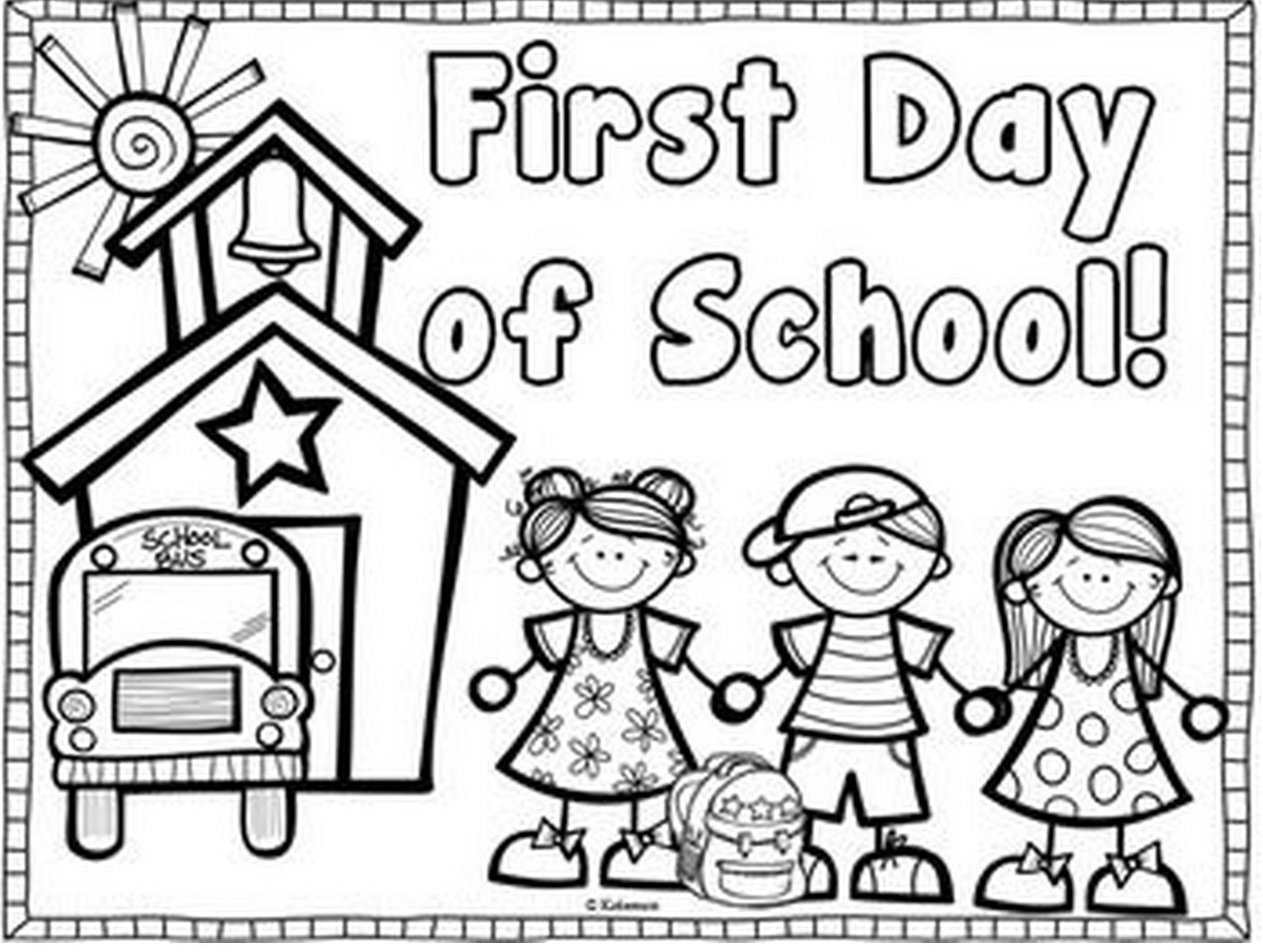 Printable First Day Of School Coloring Page