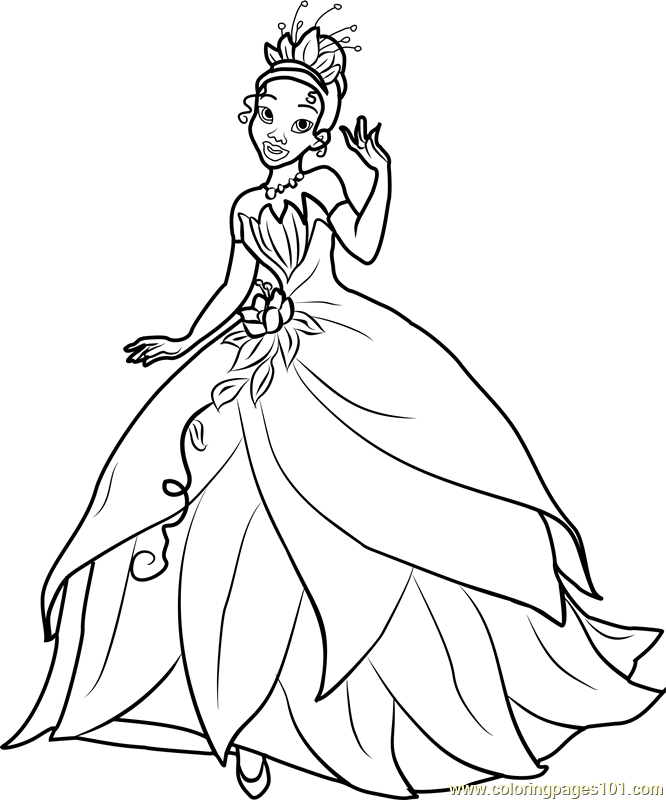 Princess Tiana Coloring Page - Free Disney Princesses ... | free printable princess tiana coloring pages