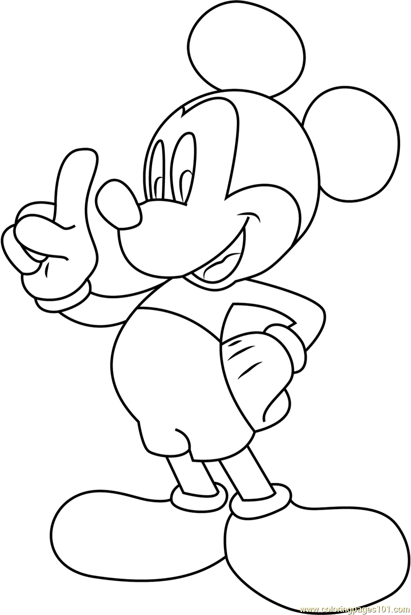 Mickey Mouse Tell Something Coloring Page Free Mickey