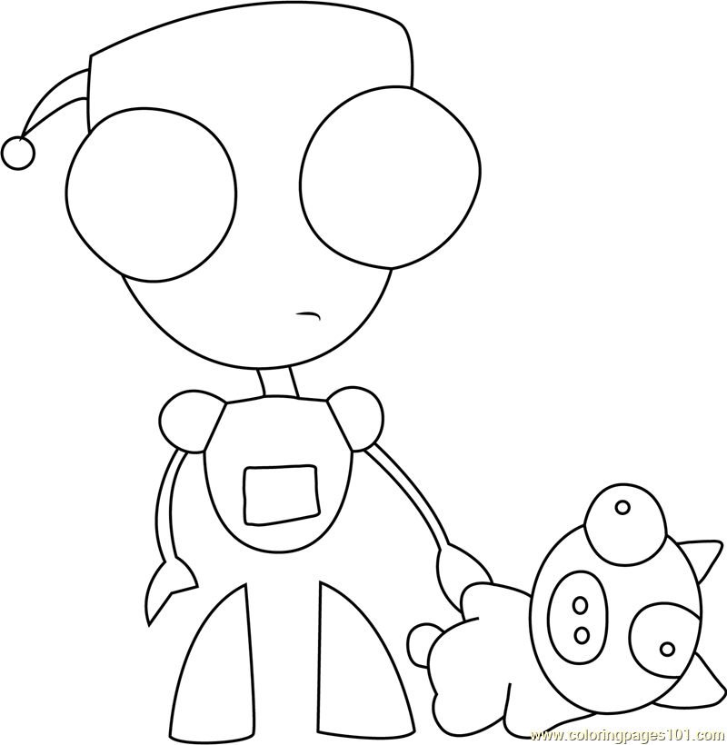 Gir With Bear Coloring Page Free Invader Zim Coloring