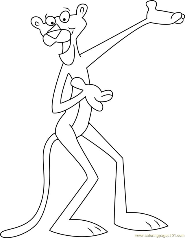 Happy Pink Panther Coloring Page for Kids - Free The Pink Panther