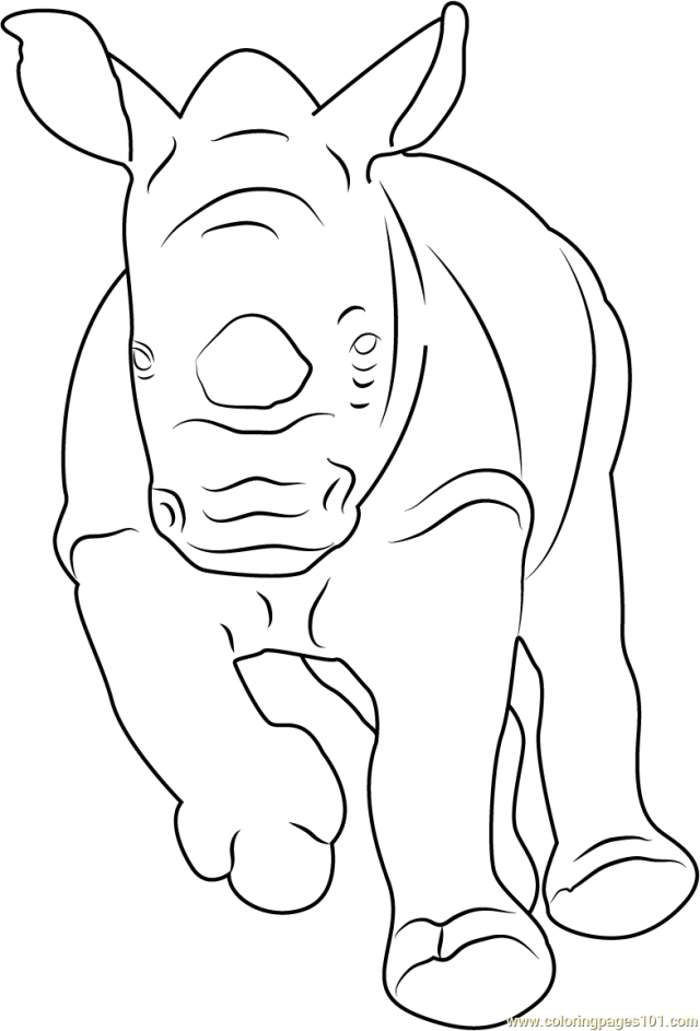 Baby Rhino Running Coloring Page for Kids - Free Rhinoceros