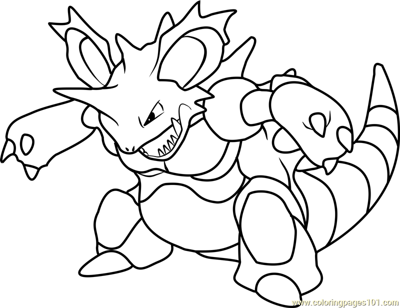 Nidoking Pokemon Coloring Page Free Pokmon Coloring
