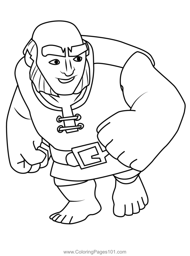 Giant Clash of Clans Coloring Page for Kids - Free Clash of the