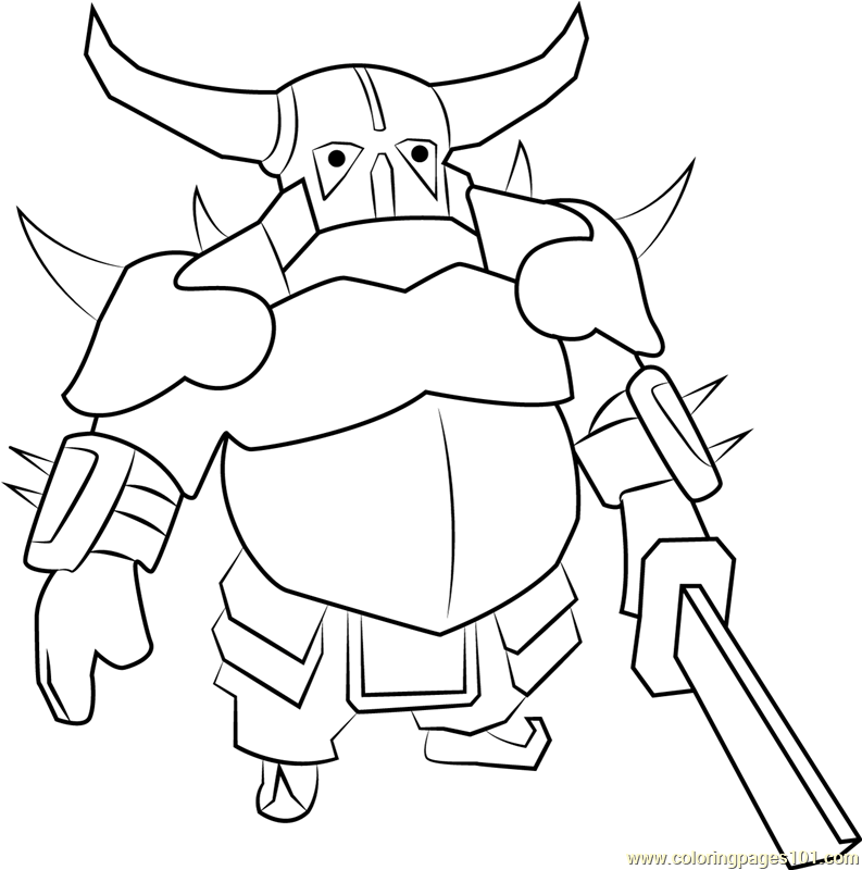 pekka coloring page  free clash of the clans coloring