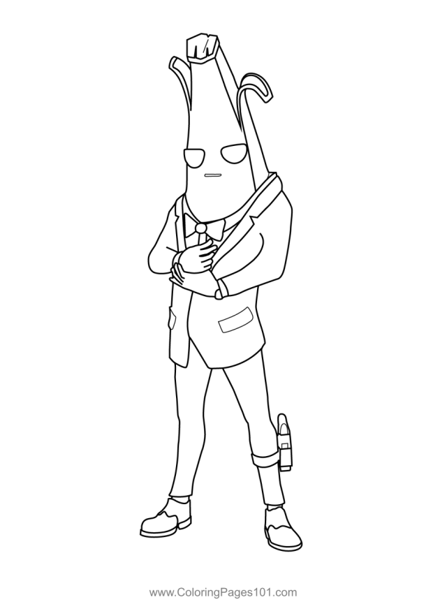 Agent Peely Fortnite Coloring Page for Kids - Free Fortnite