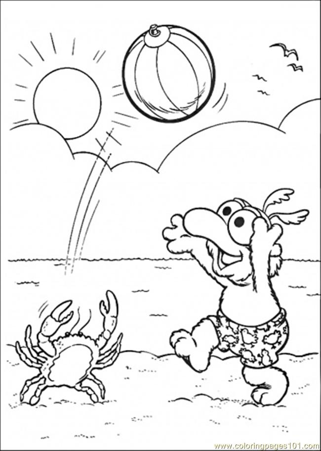 coloring pages playing at the beach (cartoons > muppet