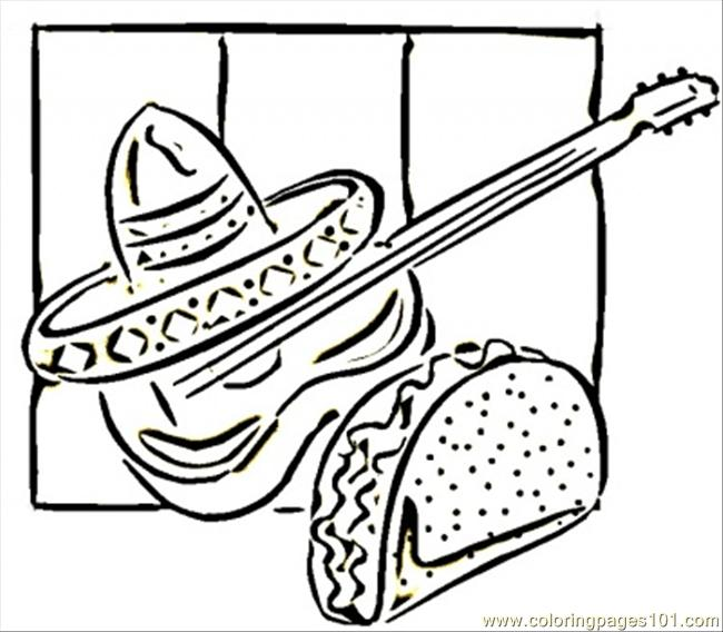 Tacos And Guitar Coloring Page Free Mexico Coloring Pages Coloringpages101 Com