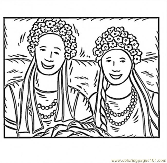 Ukrainian Girls Coloring Page Free Ukraine Coloring