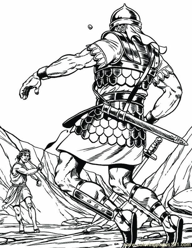 001 David And Goliath 4 Coloring Page Free Religions Coloring Pages Coloringpages101 Com