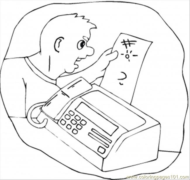 Receive The Fax Coloring Page Free Telecom Coloring