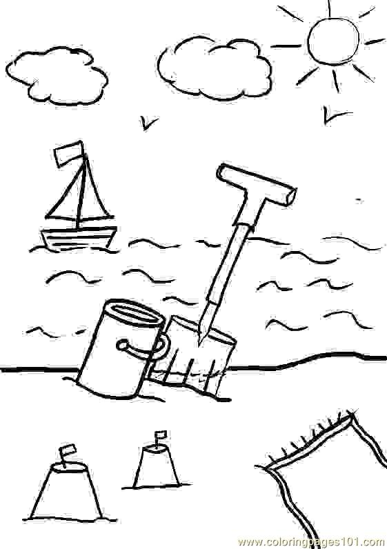 Beach Sun Cloud Coloring Page Free Holidays Coloring