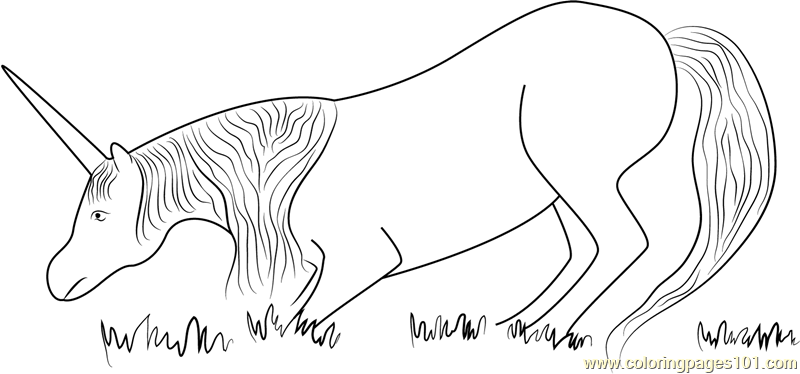 Unicorn Eating Grass Coloring Page Free Unicorn Coloring