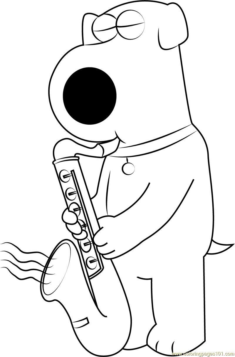 Brian Griffin Playing Saxophone Coloring Page Free Brian Griffin Coloring Pages