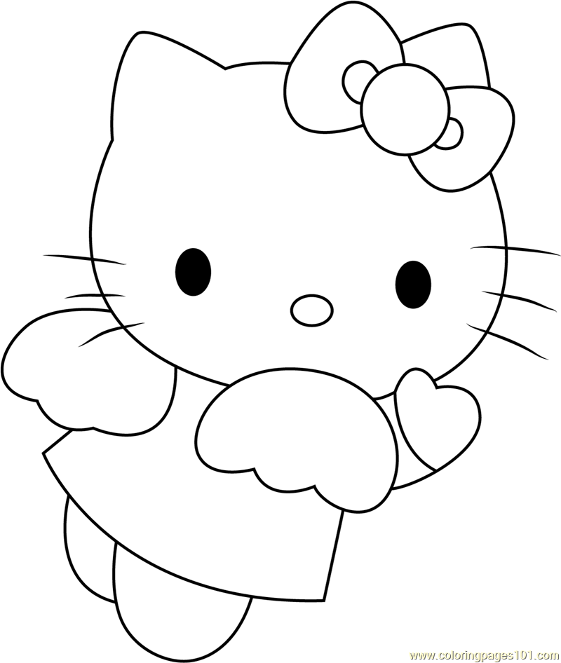 Angel Blue Hearts Hello Kitty Coloring Page Free Hello