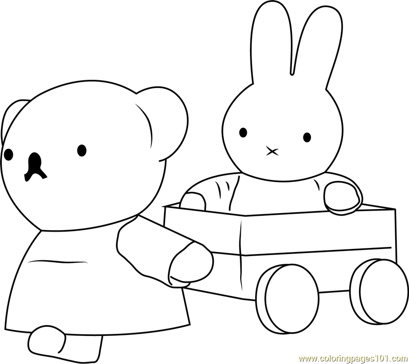 Miffy With Her Friend Coloring Page Free Miffy Coloring