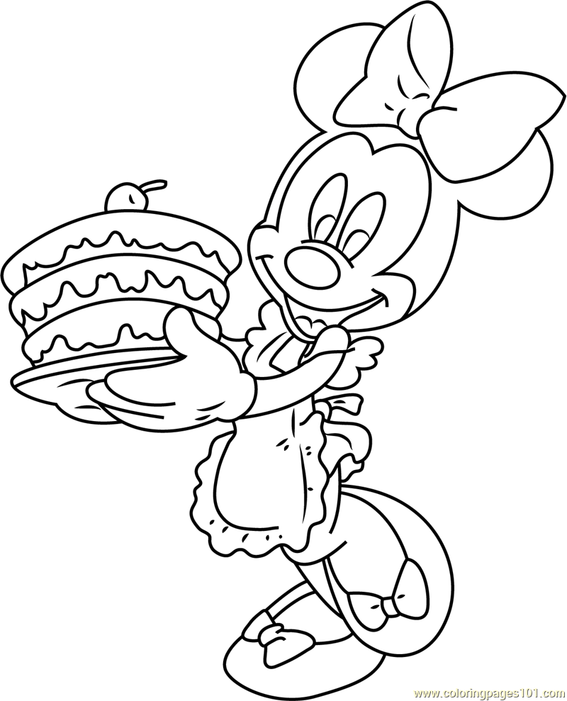 Minnie Mouse With Birthday Cake Coloring Page Free Minnie Mouse
