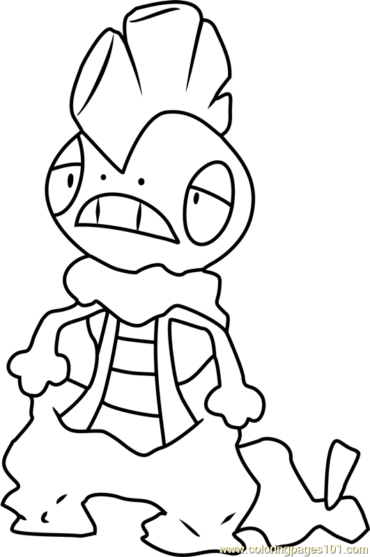 Scrafty Pokemon Coloring Page Free Pokmon Coloring
