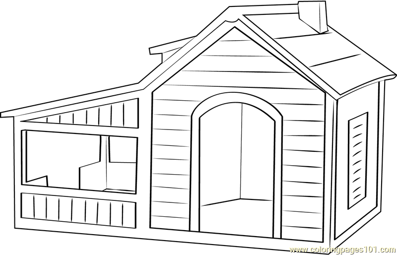 Dog House With Play Area Coloring Page Free Dog House Coloring Pages