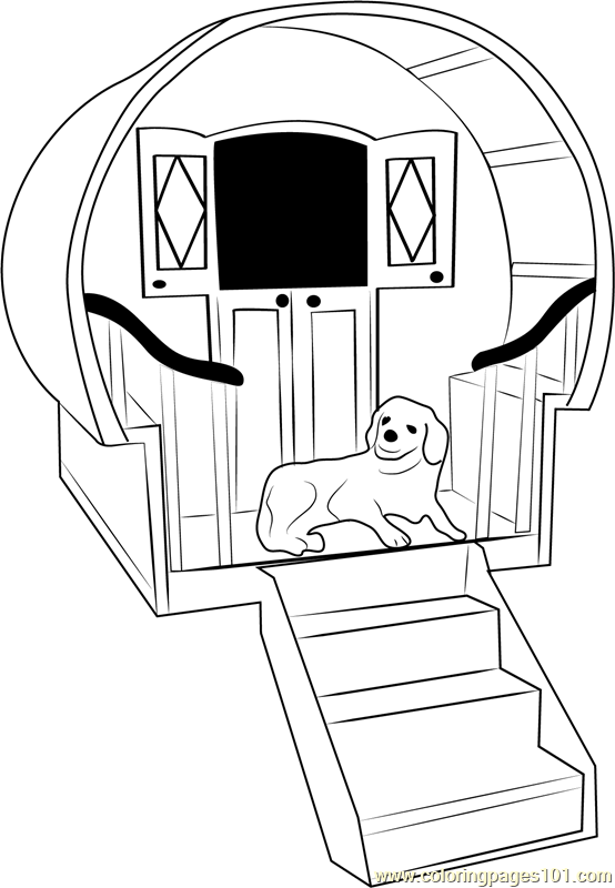 Dog House With Stairs Coloring Page Free Dog House