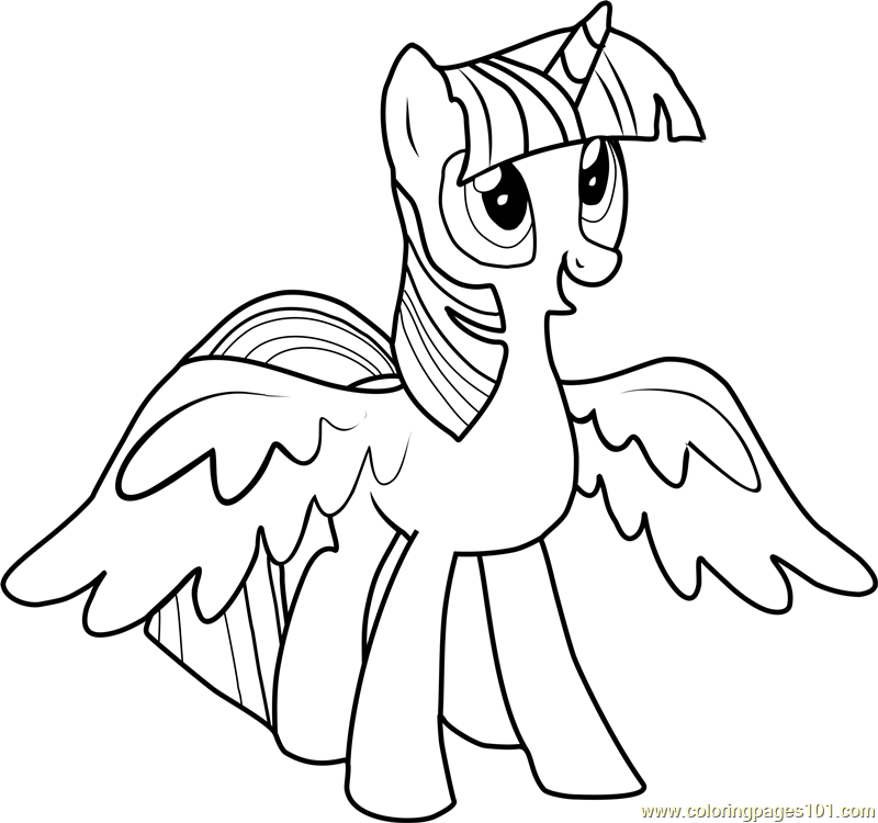 Princess Twilight Sparkle Coloring Page Free My Little
