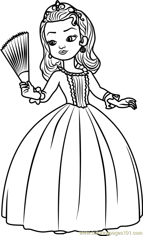 Princess Amber Coloring Page Free Sofia The First