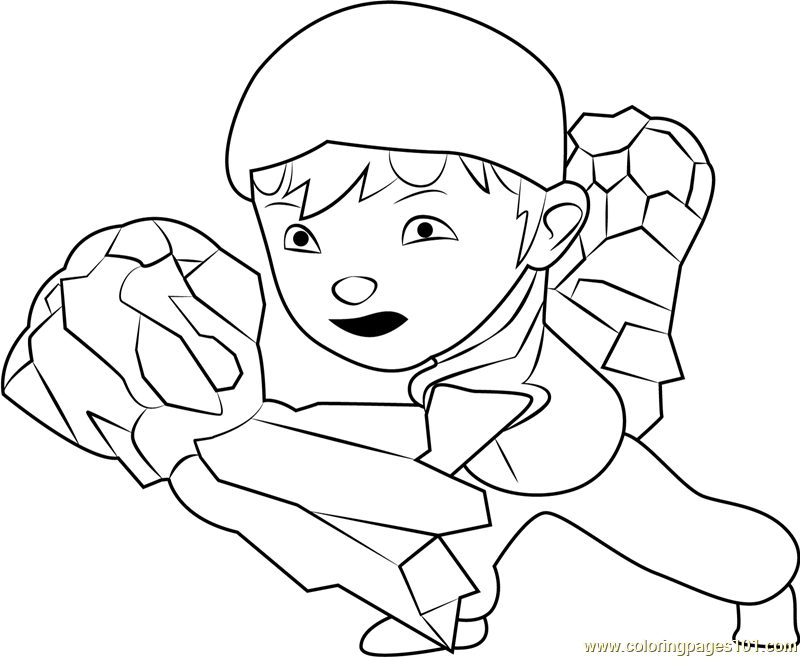 Boboiboy Earth Coloring Page Free Pages