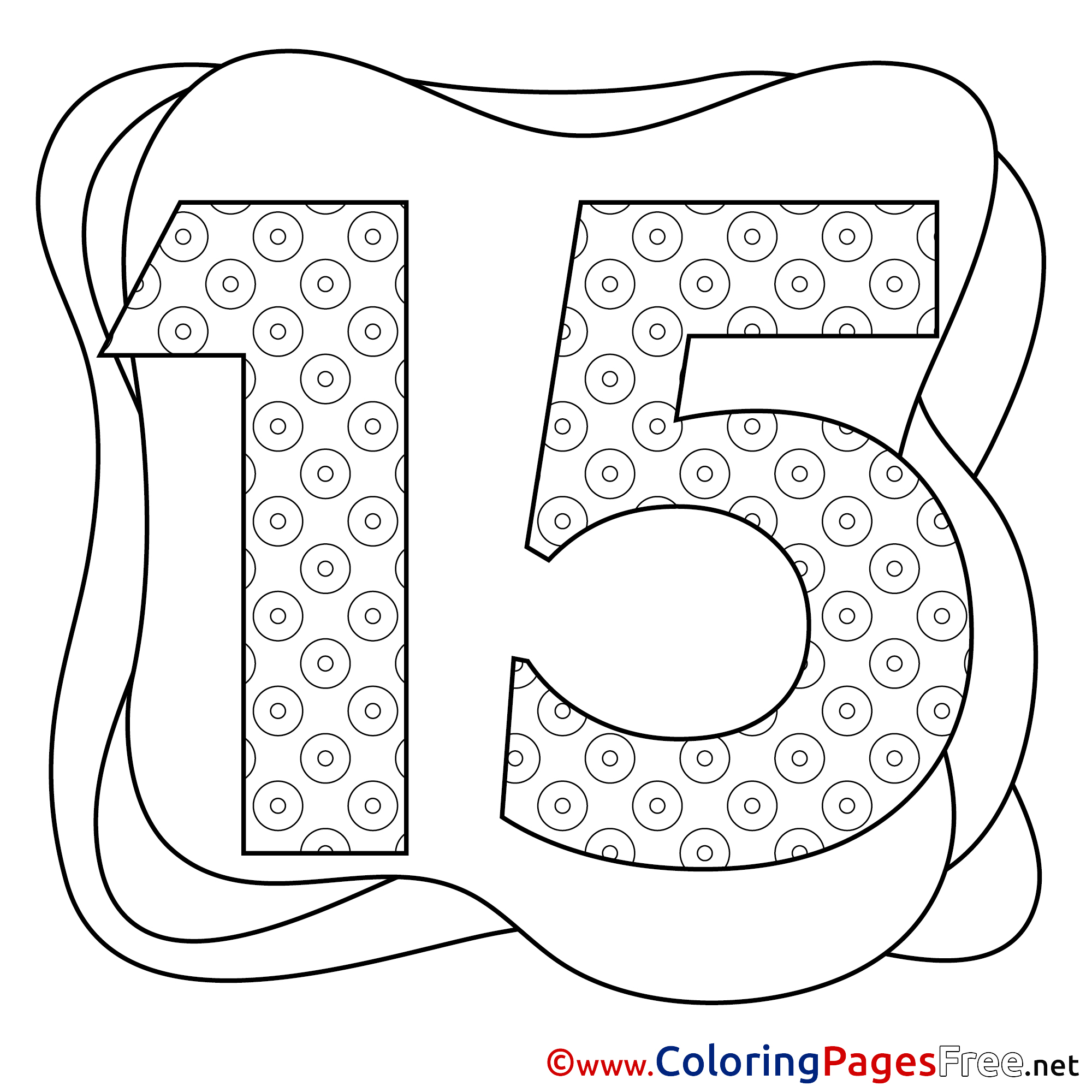 15 Years Coloring Pages Happy Birthday For Free