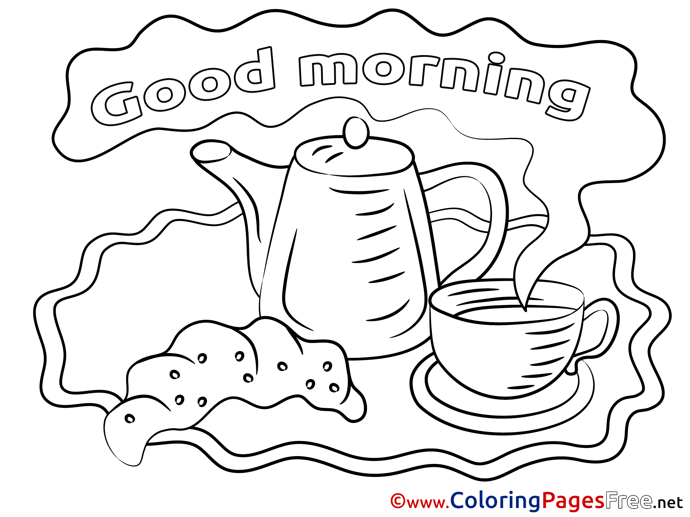 Kettle Coloring Sheets Good Morning Free