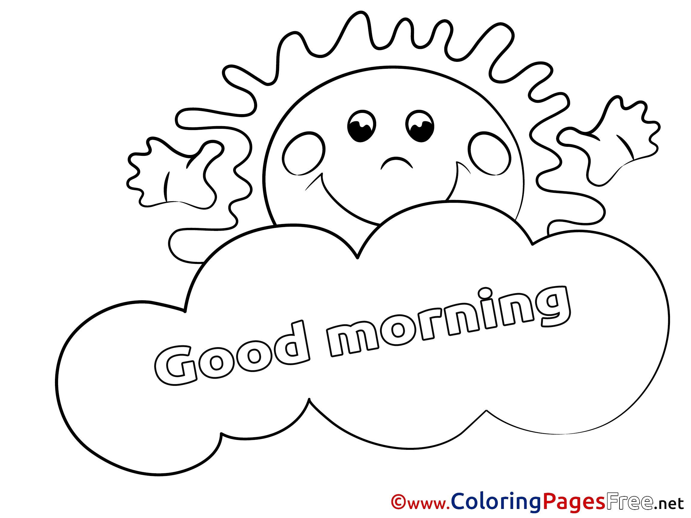 Sun Coloring Pages Good Morning For Free