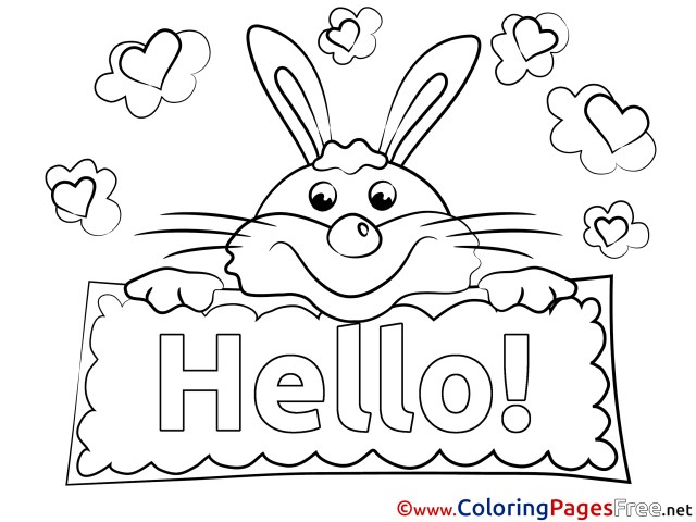 Rabbit Kids Hello Coloring Pages