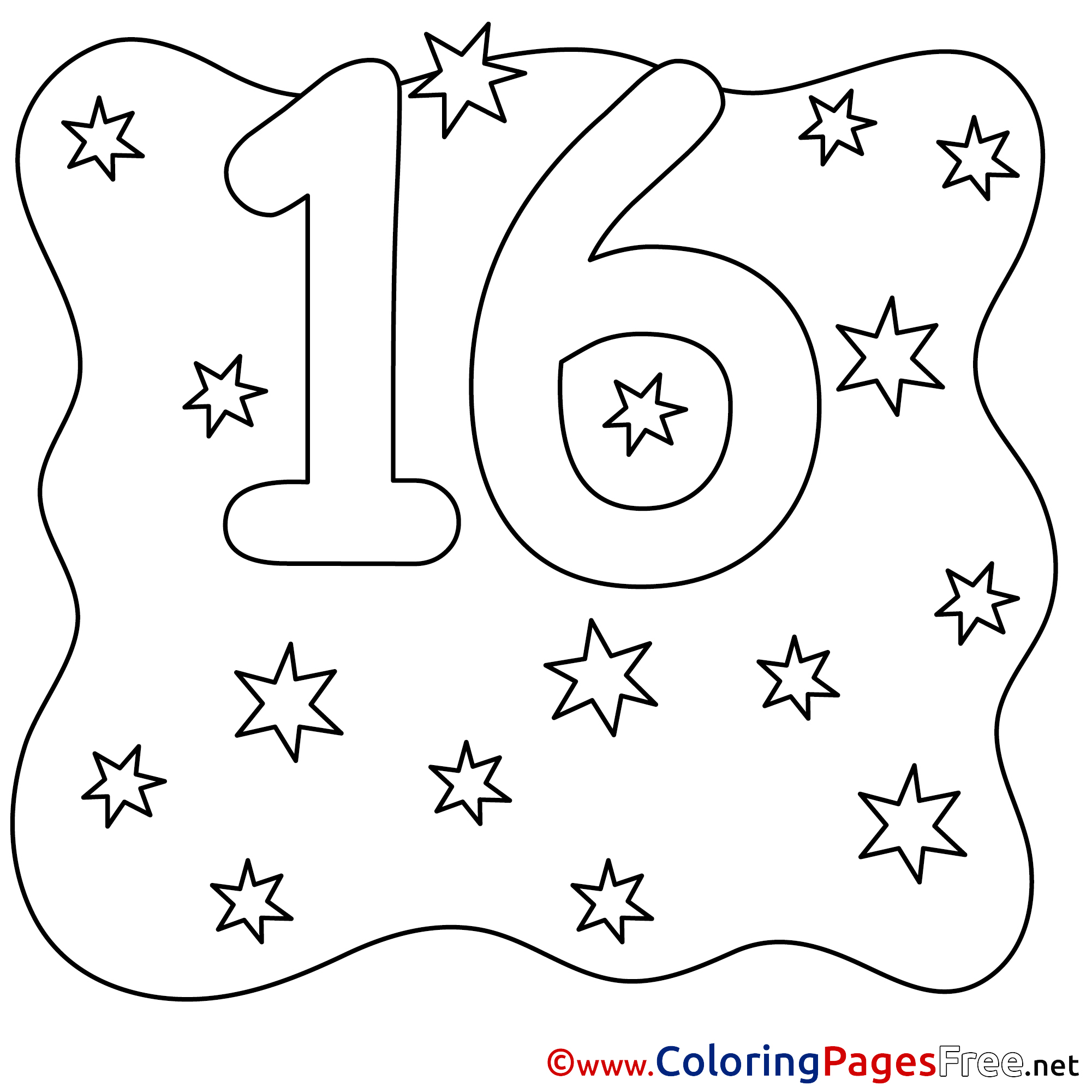 16 Stars Numbers Free Coloring Pages