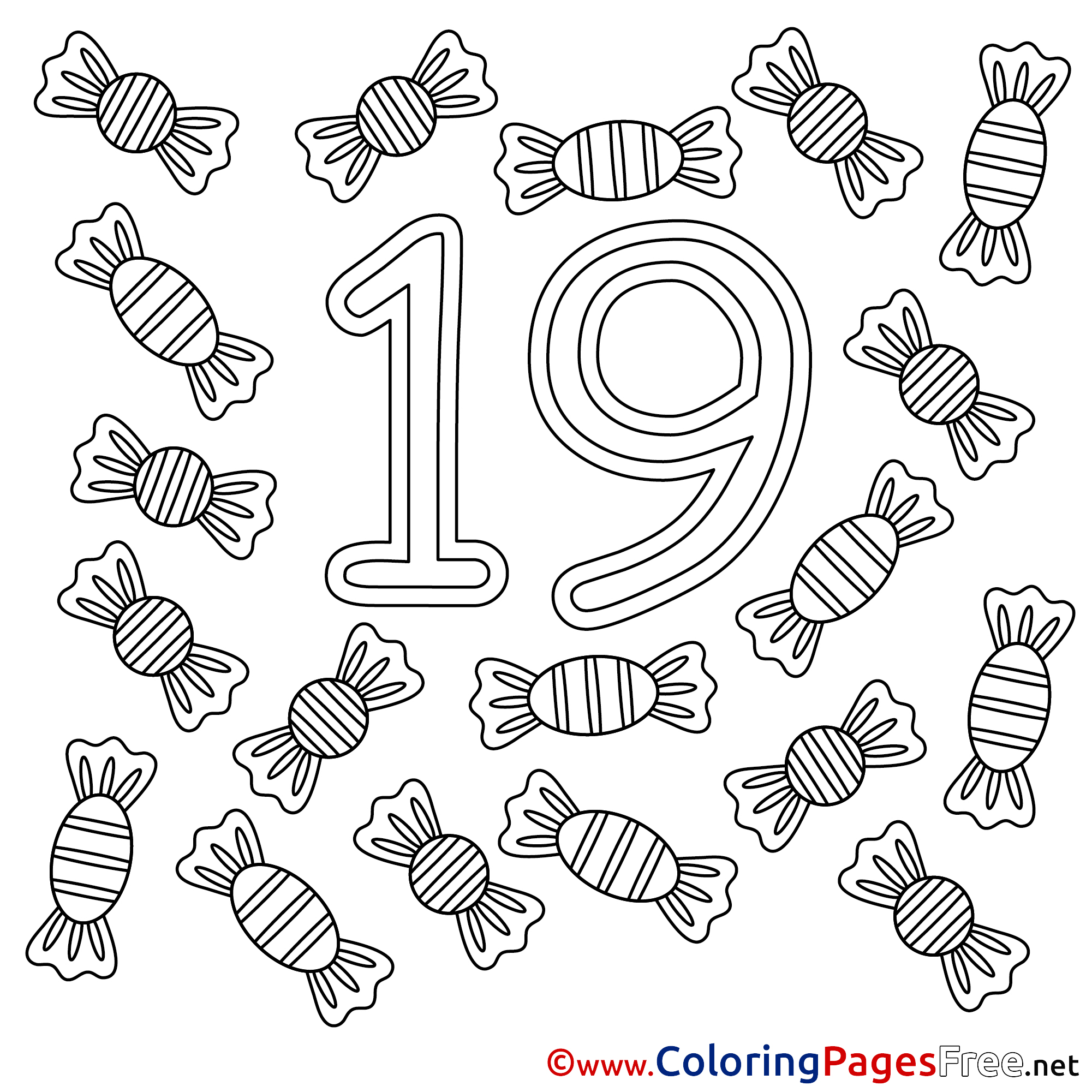 19 Can S Free Colouring Page Numbers