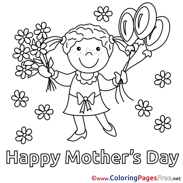 Bouquet Daughter Flowers Balloons Coloring Pages Mother's ...