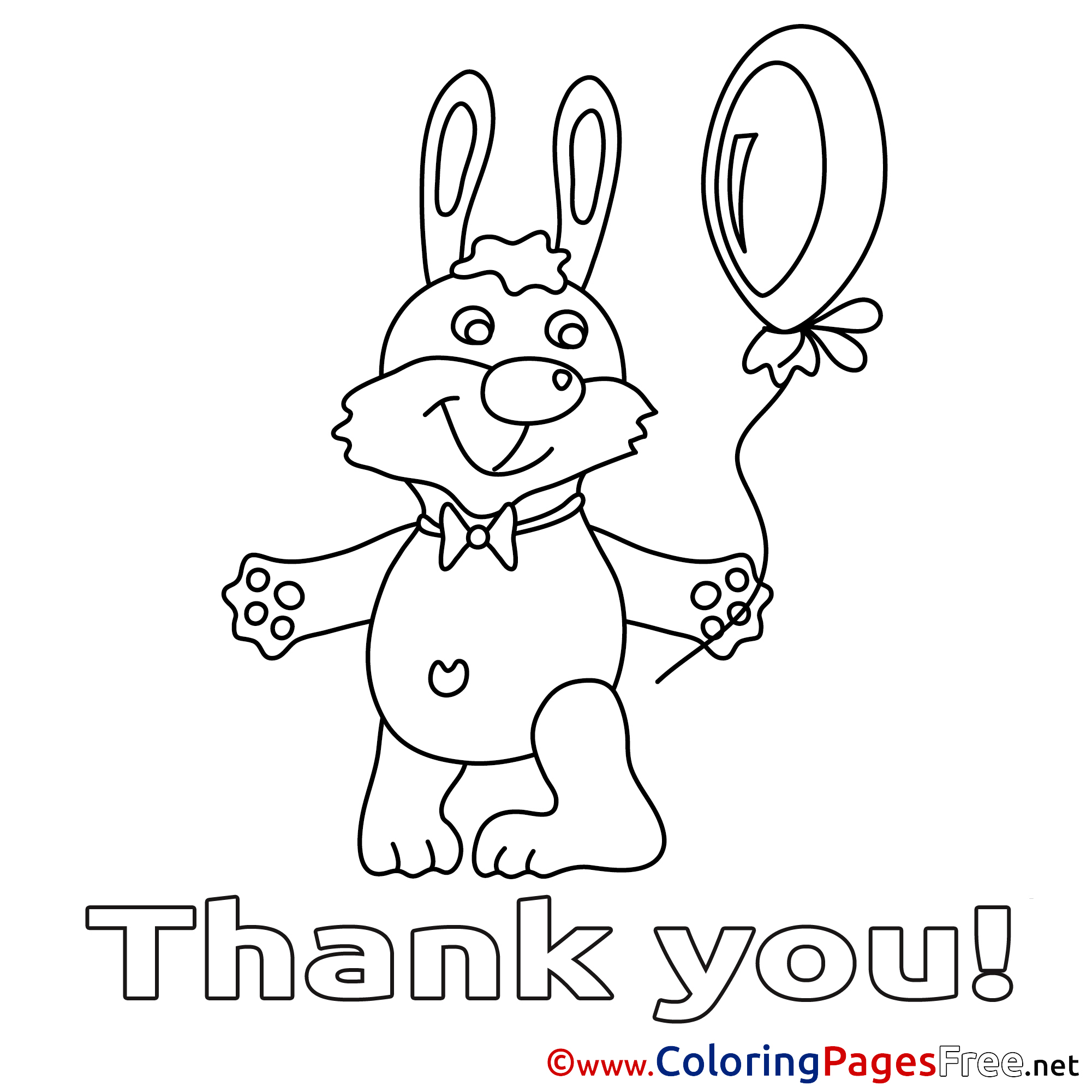 Hare Balloon Printable Thank You Coloring Sheets