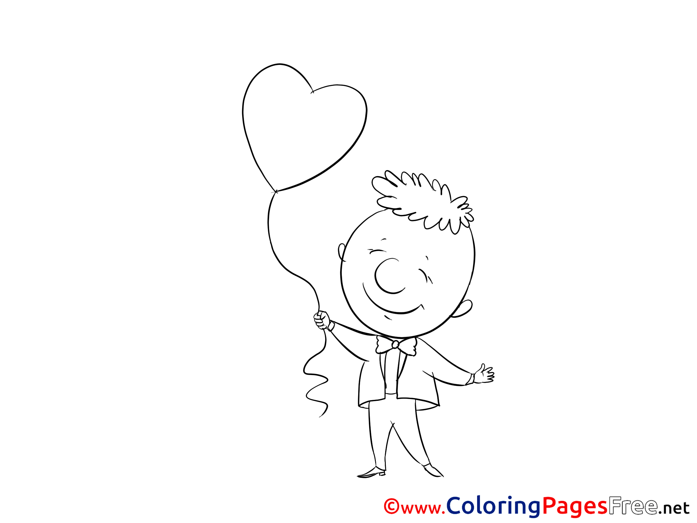 Boy Balloon Heart Download Valentine S Day Coloring Pages