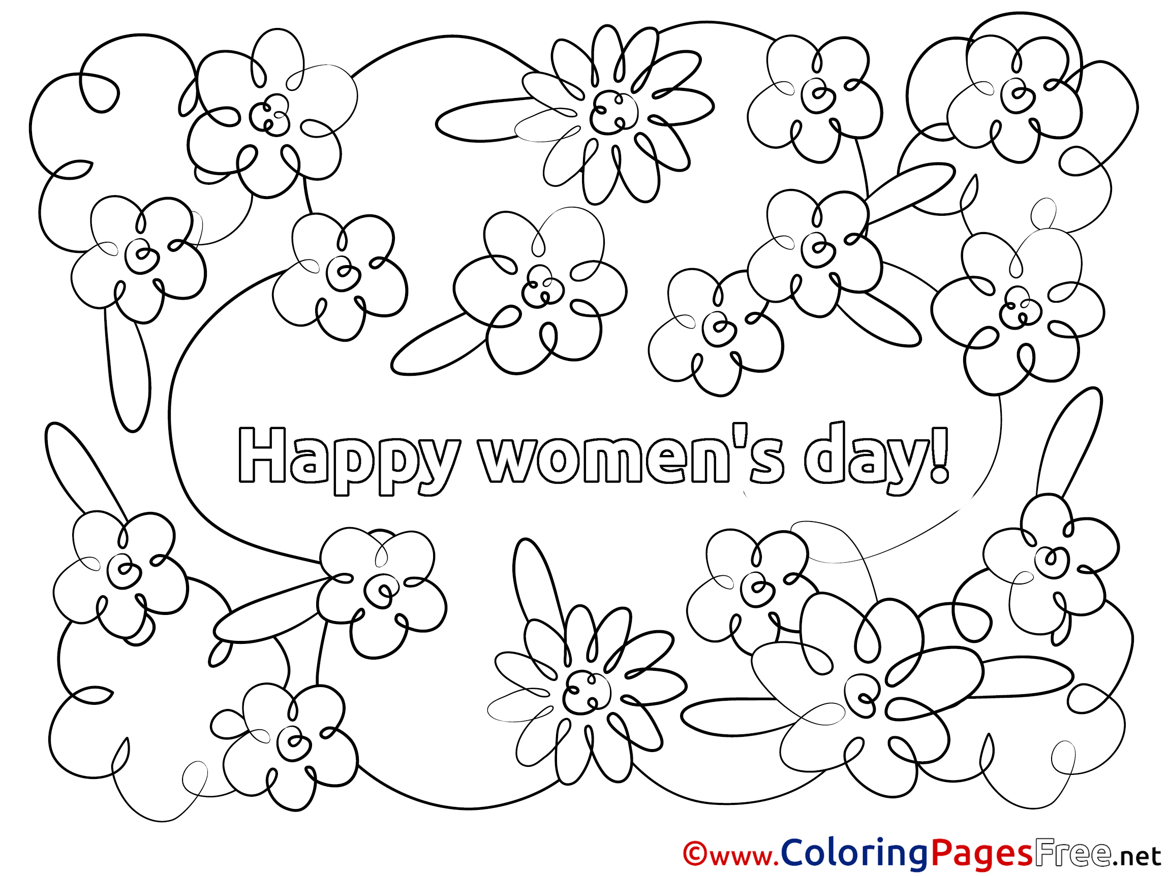 Happy Women S Day Free Flowers Colouring Page
