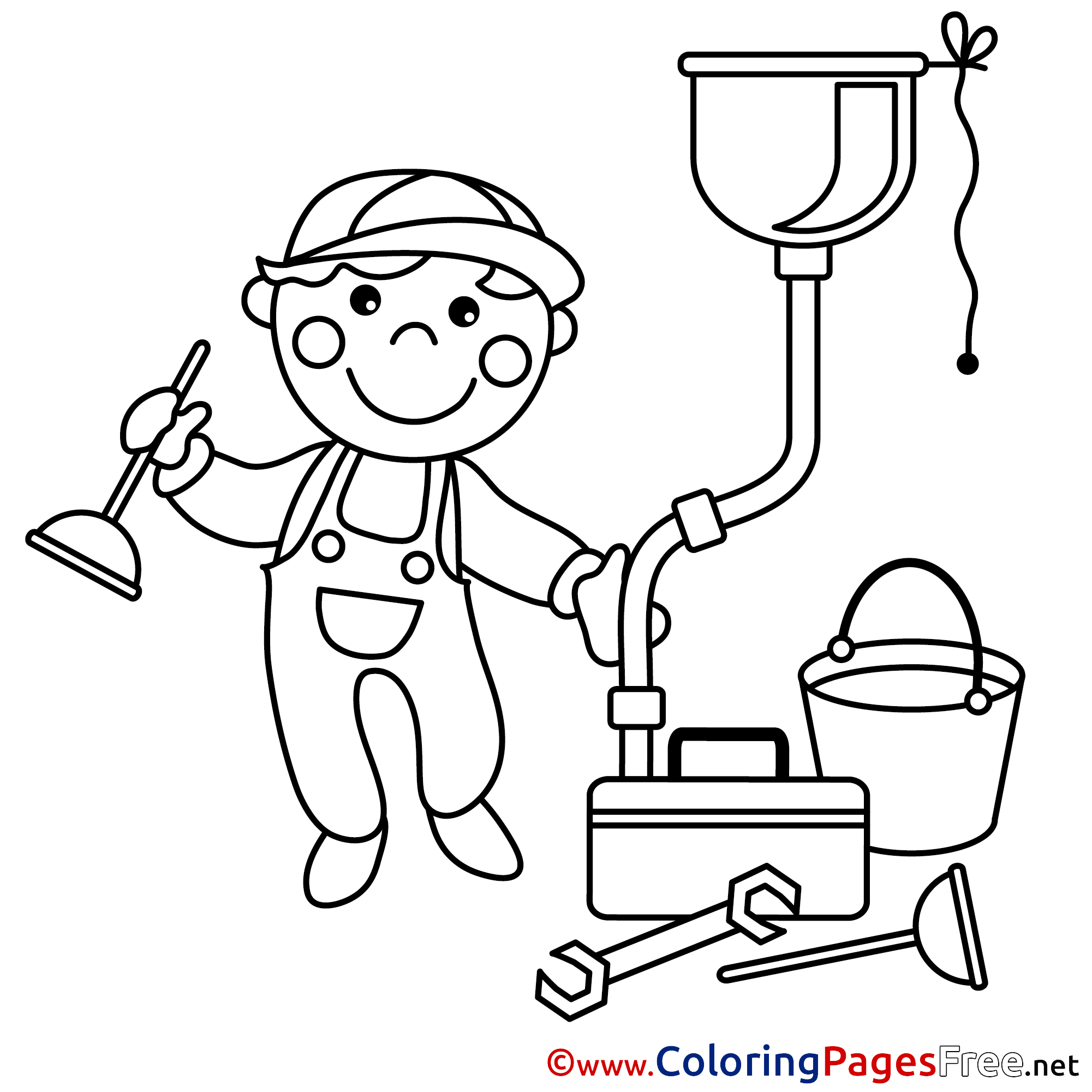 Plumber Colouring Sheet Download Free