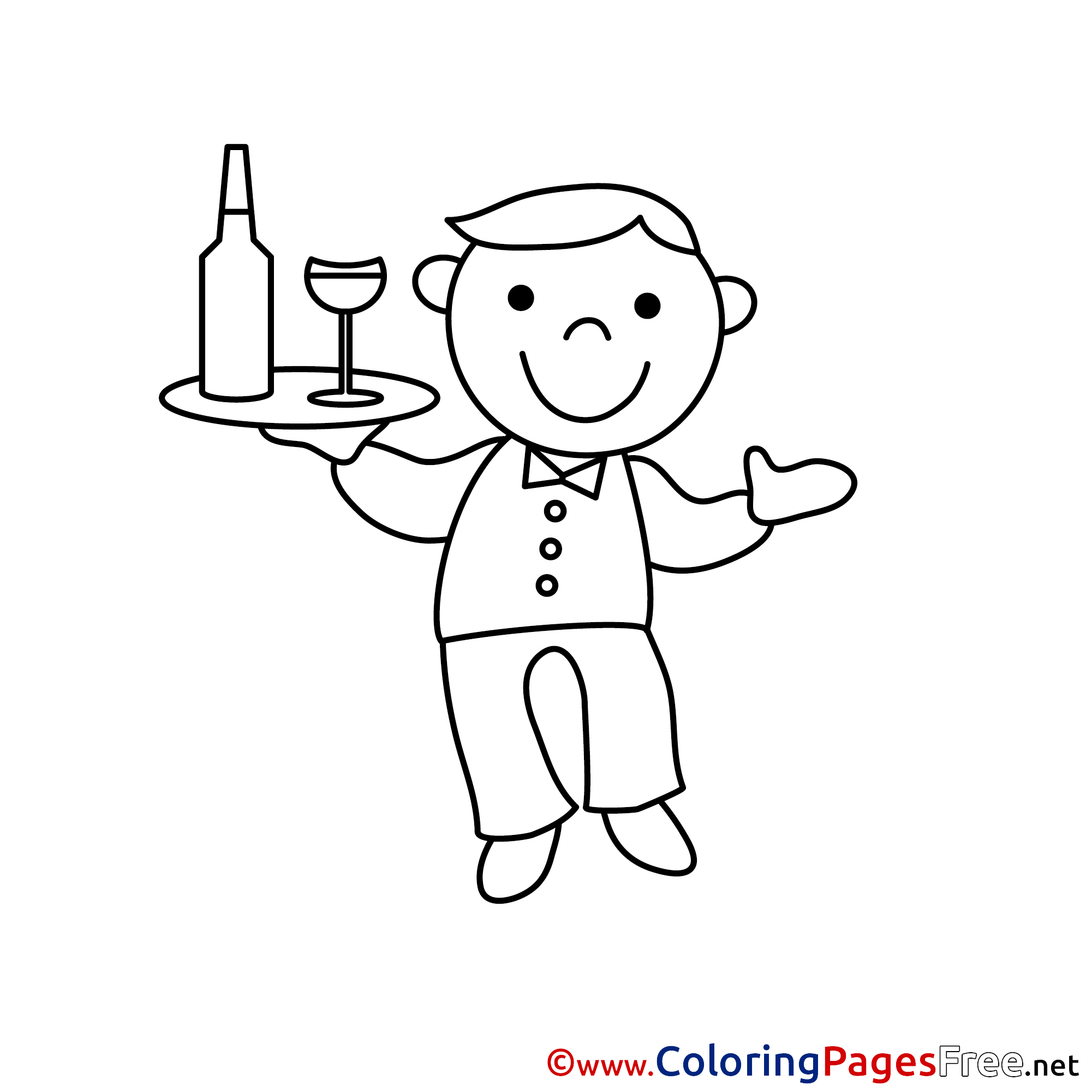 Waiter Children Download Colouring Page