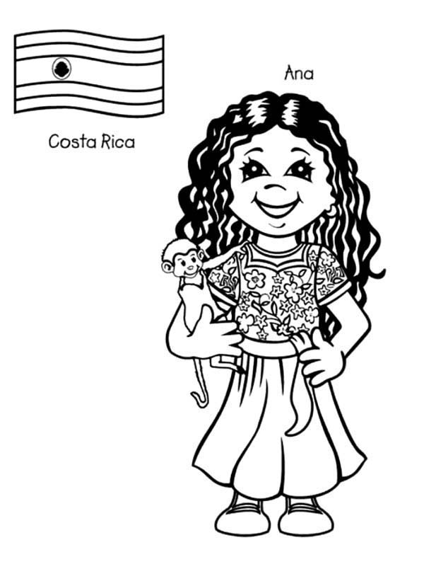 Ana Costa Rican Kids From Around The World Coloring Page