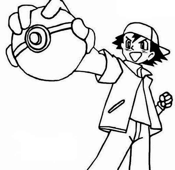 ash ketchum on pokemon coloring page for kids  coloring sky