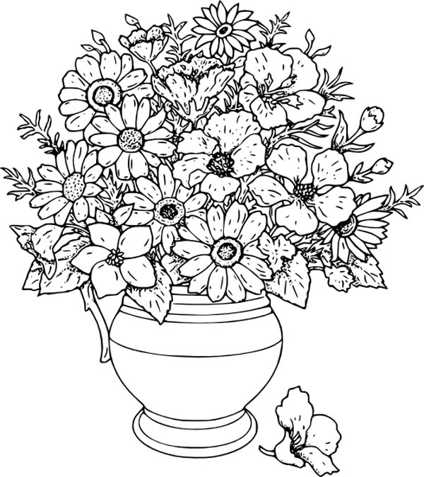 Beautiful Flower Vase Coloring Page : Coloring Sky | colouring pages flowers in a vase