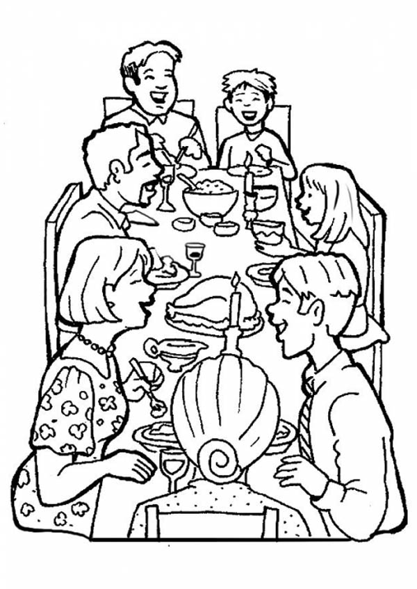 Family Dinner Together Coloring Page Coloring Sky
