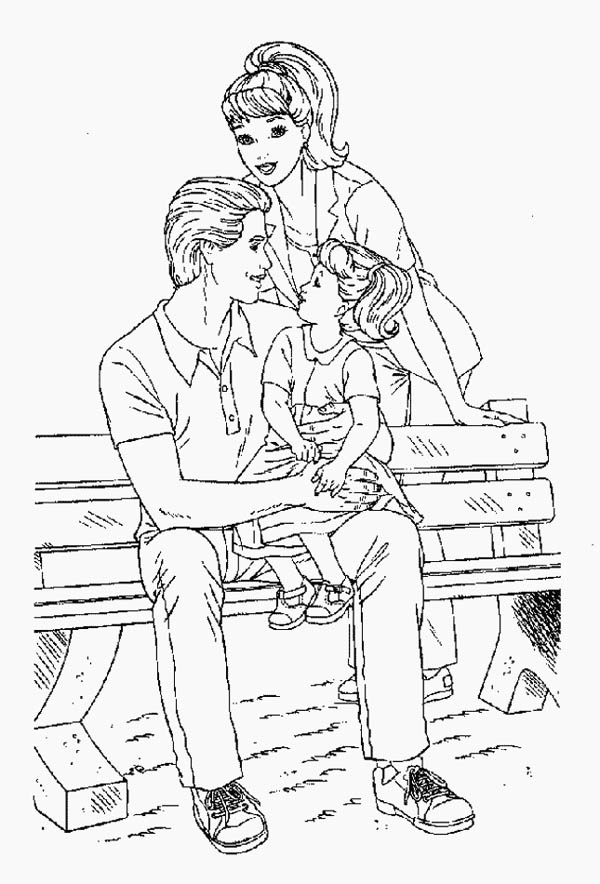 Family Sitting On Bench Park Coloring Page Coloring Sky
