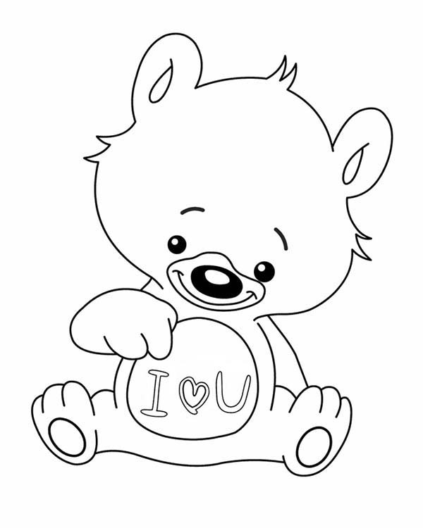 i love you little teddy bear coloring page  coloring sky